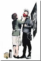 "BANKSY STREET ART CANVAS PRINT Mother Anachist 24""X 32"" stencil poster"