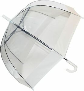 Clear Dome Umbrella SOAKE with Walking Stick Handle with White Trim Unisex