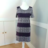 White Stuff Purple Crochet Dress Size 12 100% Cotton Short Sleeve T-Shirt dress