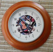 "ROUND WOOD GOLF COLLAGE WALL CLOCK 12.5"" IN DIAMETER"