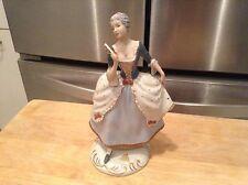 "Royal Dux Bohemia 8 1/2"" Tall Lady Blue Dress Fan Figurine 139 20 Sticker Czech"