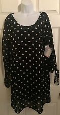 Roxy Polkadot Black White Small Petite Dress 3/4 Sleeve India New With Tags