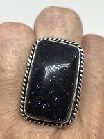 Vintage Silver Genuine Black Goldstone Sandstone Size 7 Ring