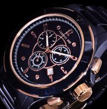 Cerruti Herren Uhr Armbanduhr Stoppuhr Schwarz Rose Farben Keramik Chronograph