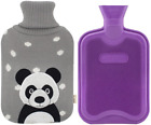 Premium Classic Rubber Hot Water Bottle and Cute Animal Embroidery Knit Cover (P
