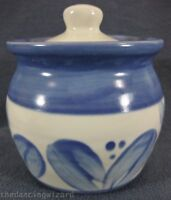 Pfaltzgraff Villa Flora Sugar Bowl & Lid Stoneware Mexico Backstamp Blue Leaves