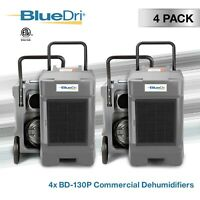 4 Pack BlueDri BD-130P 225 PPD High Performance Commercial Dehumidifier, Grey