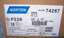 "10 Norton Sanding Belts Size 50"" x 75"" 220 Grit  - New in Box"