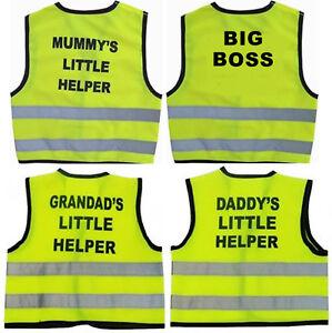 Yellow Child HiVis Vests Daddys Grandads Mummys Little Helper Baby Child Kids