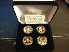 2008 USA MINT COLORIZED PRESIDENTIAL $1 DOLLAR 4 COINS SET WITH BOX Certified