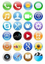 24 iPhone iPad Icons Wafer / Rice Cupcake Topper Edible Fairy Cake Bun Toppers