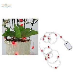 "MINI LED Batterie-Lichterkette ""String"" 12 rote Herzen batteriebetrieben"