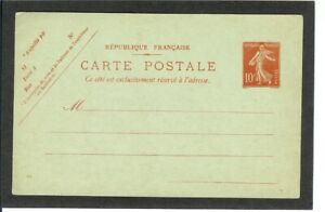 FRANCE Pre Stamped Postal Card A22 Design  UNUSED  1906 issue  Very Clean