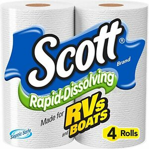 Scott Rapid-Dissolving Toilet Paper 4 Rolls Tissue Soft Bath.FREE SHIPPING