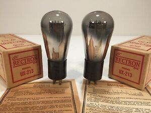 2 Vintage NOS 1925 RCA Radiotron Rectron UX-213 80 Globe Radio Amp Tube Pair #2