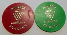 (2) GALESBURG ILLINOIS BILLIARDS ON MAIN DRINK TOKENS TOKEN