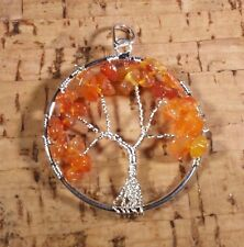 NATURAL CARNELIAN TREE OF LIFE  WIRE WRAPPED PENDANT STONE GEMSTONE