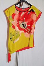 Madison Red and Bold Floral Print Asymmetrical Blouse Size M