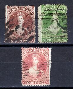 New Zealand- Group of early Chalon Head stamps.