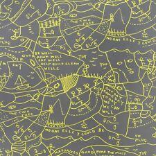 Momentum Well well well yellow & gray Large modern art design Upholstery Fabric