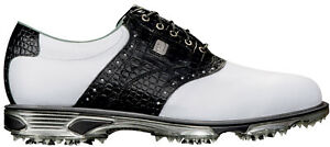 FootJoy DryJoys Tour Golf Shoes 53610 White/Black Croc Men's New