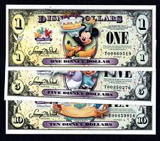 2009 Disney Dollar Set $1, $5, & $10! new condition! Mickey Goofy Donald Duck