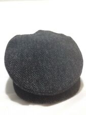Nathaniel Cole Crowncap Harris Tweed Wool Gray Newsboy Cabbie Cap Hat Men's L