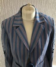 Oilily Ladies Jacket Blazer Blue Red Stripes Embroidered Nautical 38 UK 10
