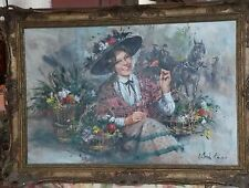 RARE ORIGINAL GORDON KING Cotswolds Flower Girl country life woman OIL PAINTING