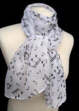 leichter Schal mit Musik Noten Notenschlüssel schwarz weiß Damen 982 w