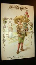 "Antique  "" BIRTHDAY GREETINGS""  Post Card - Embossed. Appr.. 1905-14."