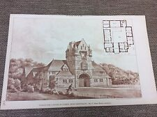 1888 original Architects print - stables for a house at coombe near shaftsbury