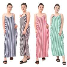 Women Cami strapy Maxi Dress Ladies Summer Cami stripy Stripe Dress Plus Size