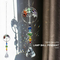 Hanging Crystal Suncatcher Life Tree Stone Beads Prism Pendant Window Decor
