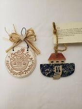 2 Noah's Ark Ceramic Christmas Ornaments