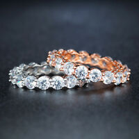 White Gold Filled Rose Gold Filled Crystal Jazz Band Lady's Wedding Ring R115