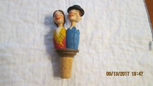 Handcarved Kissing Man and Woman Mechanical Cork Bottle Stopper