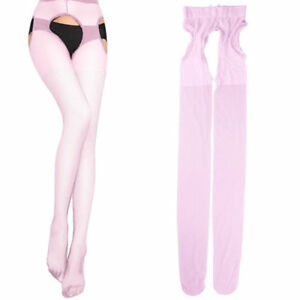 Women Sexy Pantyhose Sheer Open Crotch Tight Crotchless Thin Suspender Stockings