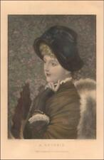 LADY IN WINTER FASHION, FUR, in thought, Hand colored Engraving Original 1888