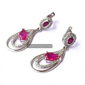 Natural Ruby Faceted Pear Gemstone 925 Sterling Silver Dangle Drop Earrings