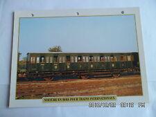 CARTE FICHE TRAIN VOITURE EN BOIS POUR TRAINS INTERNATIONAUX 1897