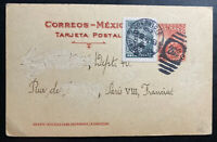 1930 Ambulant Service Mexico Postal Stationery Postcard Cover To Paris France