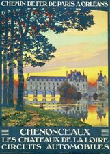 Chenonceaux, France, 1920, Vintage French Art Deco Travel Poster