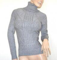 Maillot gris femme à manches longues col haut chemise pullover chandail trui G1