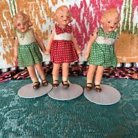 "Three 3"" All Composition Shirley Temple Type Dolls! 1930-40's!  Dollhouse Dolls!"