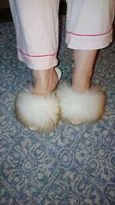 Vintage retro fluffy mule slippers Hausschuhe Jahrgang,Pantoufles moelleus uk 9s