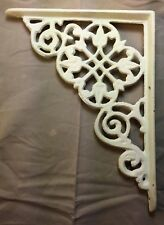 SET of 4 ANTIQUE WHITE VICTORIAN FLORAL STYLE CAST IRON BRACE / BRACKET