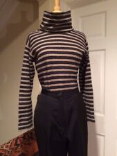 Exclusive Italian Cowl Neck Wool Blend Turtleneck Navy Gray & Tan Stripe Large