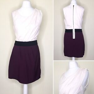AX Paris Dress UK 10 Ivory Purple Pencil Bodycon Elastic Waist Sleeveless Office
