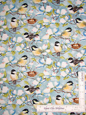 Bird Nest Flower Petal Branches Cotton Fabric Wilmington Feather Your Nest Yard